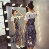 FINDSENSE G5 韓國時尚 網格 拼接 假兩件式 短袖 連身裙 中長款 碎花裙