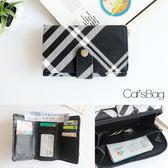 Catsbag-簡約黑白格紋單扣中夾-W0200326