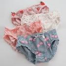三角褲 4條內褲女純棉櫻桃草莓印花荷葉邊可愛少女學生甜美低腰三角褲頭-Ballet朵朵