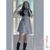 連身裙格子連衣裙女夏學生溫柔法式小眾裙子【少女顏究院】