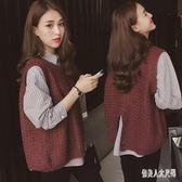 針織馬甲女毛衣女秋冬新款韓版寬鬆條紋打底毛兩件套上衣 zm8384『俏美人大尺碼』