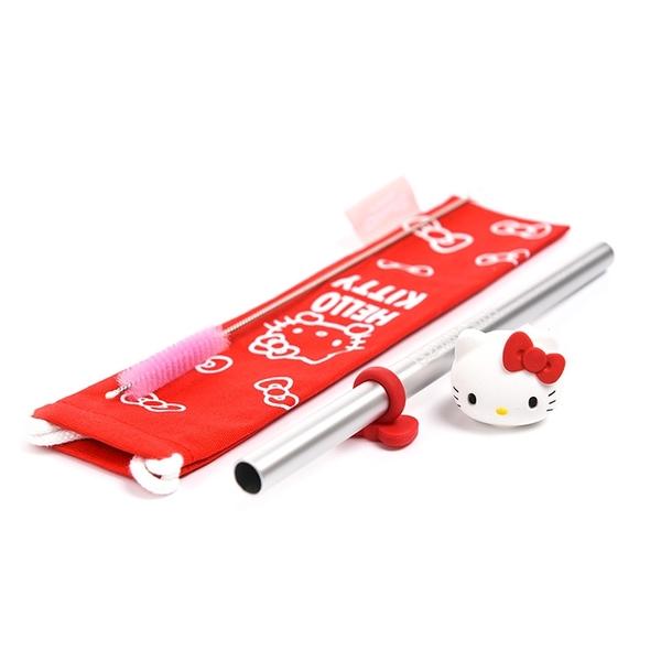 Sanrio HELLO KITTY 鋁製環保吸管組 附收納袋 紅_RD00732
