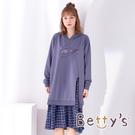 betty's貝蒂思 假兩件千鳥格長版連帽洋裝(藍灰色)
