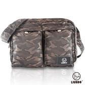 ~禾雅~LIUKOO 戰地叢林迷彩系列雙口袋 防潑水中容量側背包~ 棕~