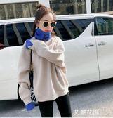 高領衛衣女秋冬假兩件加絨加厚外套韓版潮學生慵懶風寬鬆原宿上衣『艾麗花園』