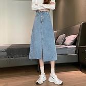 牛仔裙半身裙2021春秋季女裙子新款垂感不規則設計感中長款a字裙 黛尼時尚精品