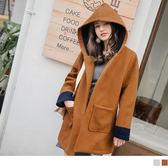 《EA2489》配色設計合身長版毛呢連帽大衣 OrangeBear
