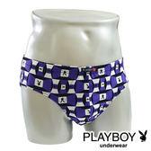 Play Boy內褲 LOGO印花三角褲 MIT製造(方塊紫兔) PN055