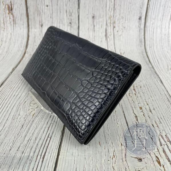 BRAND楓月 HERMES 愛馬仕 N刻 深藍鱷魚長夾 方塊 霧面鱷魚皮 稀有 二折長夾 錢包 皮夾 錢夾