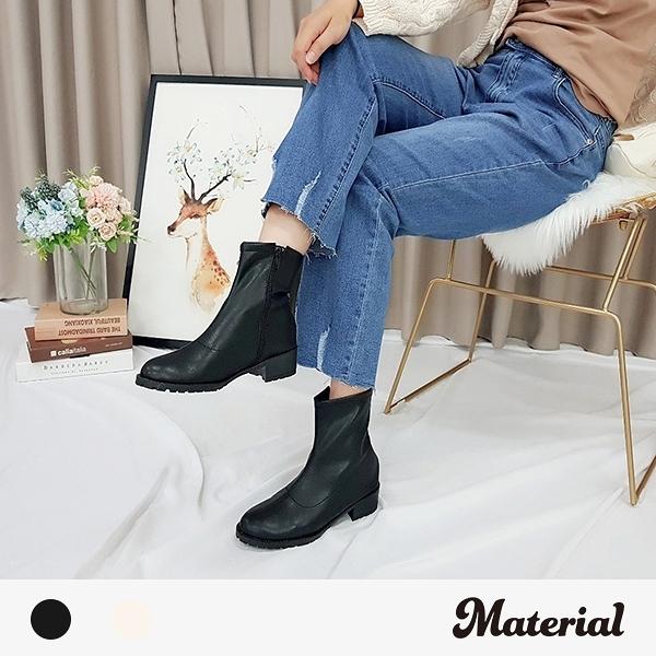 短靴 簡約壓線園頭短靴 MA女鞋 T5081