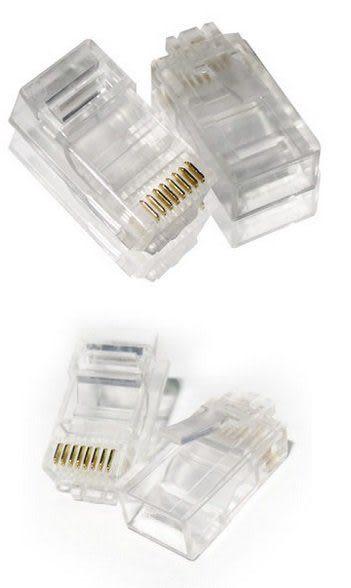 【3C生活家】三叉 RJ45 水晶頭 8P8C模組接頭 CAT5 網路水晶頭 百兆高速傳輸 (1盒100顆)