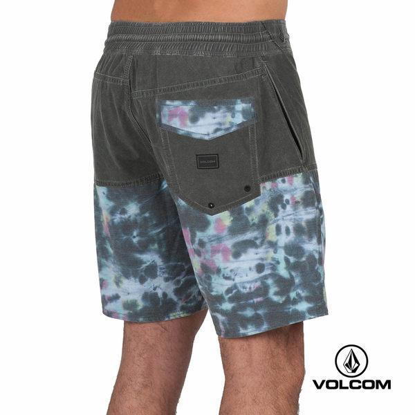 VOLCOM STONEYS 海灘褲-黑x1/2多色印花