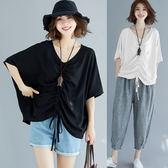 大碼T恤 春夏新款韓版寬鬆大碼蝙蝠袖T恤衫短袖休閒抽繩褶不規則百搭上衣