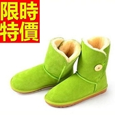 中筒雪靴-保暖搭扣真皮革加厚棉靴女靴子4色62p80【巴黎精品】