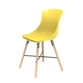 (組)特力屋萊特塑鋼椅-櫸木腳架30mm+黃椅背+黃座墊