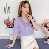韓國設計感小眾襯衫女2020夏季新款寬松上衣洋氣木耳邊V領短袖雪紡衫【居享優品】