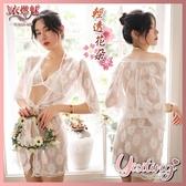性感睡衣 女性內衣褲 居家衣著《YIRAN MEI》性感睡衣!輕透花朵蕾絲罩衫內搭三點式浴袍組