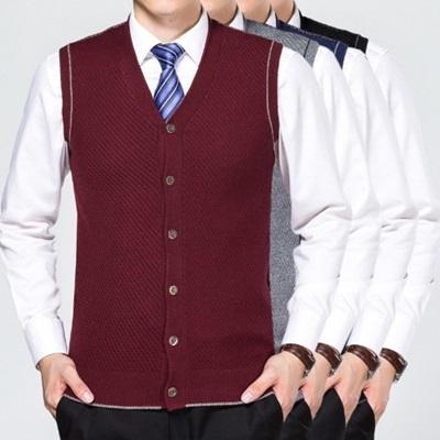 羊毛背心-時尚商務休閒中老年無袖男針織衫4色73ig44[時尚巴黎]