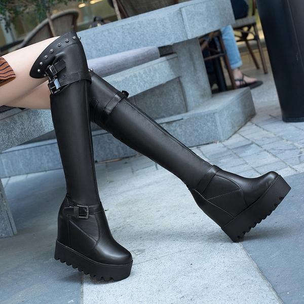 膝上靴 秋季靴子 小個子長靴 女過膝新款冬季加絨 內增高筒靴厚底彈力靴