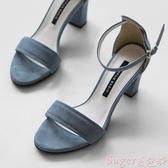 中跟涼鞋一字帶涼鞋女2020新款夏季仙女風百搭粗跟中跟羅馬時裝少女高跟鞋 熱賣 suger