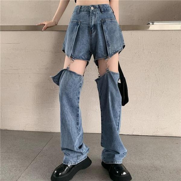 破洞牛仔褲女直筒寬鬆高腰闊腿褲2021年新款褲子春裝網紅顯瘦長褲 韓國時尚週 免運