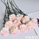 10支康乃馨仿真花束假花絹花干花藝家居客廳擺設擺件裝飾插花塑料 自由角落