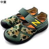 《7+1童鞋》中童 NEW BALANCE Y0208CAM   輕量  護趾涼鞋 9443  綠色