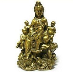 開光銅五子觀音菩薩佛像 擺件