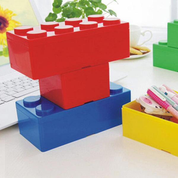 【BlueCat】疊疊樂 積木 文具桌面收納盒 (長方形)