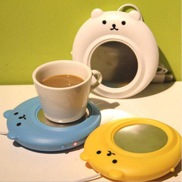 【03319】 小熊保溫碟 USB 冬天 暖手 保溫座 暖杯墊 USB加熱