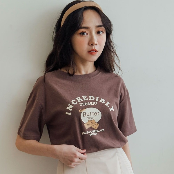 MIUSTAR 下午茶的BUTTER餅乾膠印棉質上衣(共3色)【NJ0288】預購