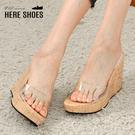 [Here Shoes]前2.5後11cm拖鞋 PU一字透明透膚寬帶 圓頭楔型厚底 涼鞋 防水台 MIT台灣製-KSG856