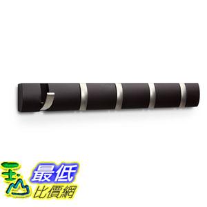 [107美國直購] 壁掛 Umbra Flip(R) 5-Hook Wall-Mount Rack/Rail, Espresso/Nickel