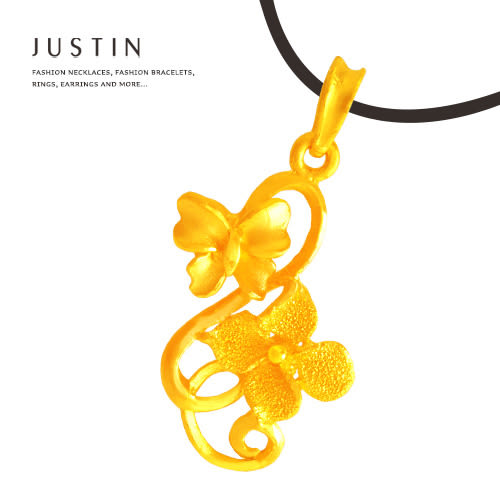 Justin金緻品 黃金墜子 花語芬芳 金飾 純金墬飾 花型 9999純金 送精緻皮繩