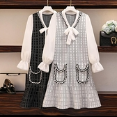 大碼女裝2020早秋 新款胖妹妹減齡洋裝顯瘦 遮肉雪紡長袖拼接針織連衣裙 萬聖節狂歡價