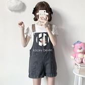 小熊刺繡牛仔背帶短褲女夏季連體寬褲【Kacey Devlin】