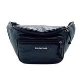 【台中米蘭站】全新品 BALENCIAGA Explorer Arena 品牌字母烙印羊皮腰包/斜背包(529550-黑)