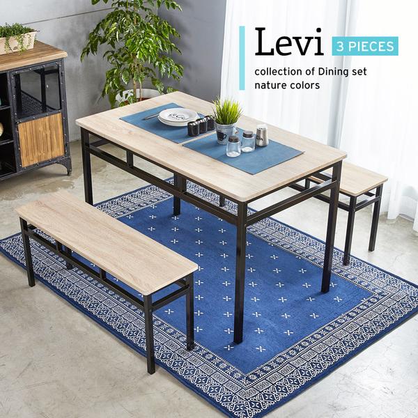 李維工業風個性鐵架餐桌椅組/3件式(1桌2凳)/H&D東稻家居