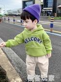 寶寶加絨連帽T恤男童小童潮韓版打底衫新款秋冬洋氣長袖上衣 極客玩家