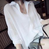 新款夏季薄款襯衫女韓范雪紡外搭上衣寬鬆大碼襯衣防曬衣百搭顯瘦「時尚彩虹屋」