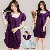 *孕婦裝*胸前層次抓皺兩側抓褶孕婦哺乳(開釦式)洋裝 紫----孕味十足【COC4161】