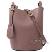 茱麗葉精品【全新現貨】 BURBERRY 4057152 Haymarket戰馬格紋拼色水桶包.粉紫