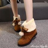 雪地靴 加絨雪地靴女冬季新款百搭短筒圓頭粗跟保暖棉鞋短靴棉靴 全網最低價