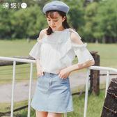 短袖女夏季2018新款女裝超仙bf一字肩白色雪紡衫學生韓版露肩上衣 全館85折