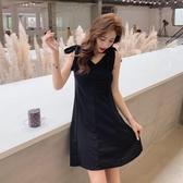 無袖洋裝 黑色吊帶短裙洋裝女春夏新款韓版修身高腰A字裙無袖蝴蝶結 魔法鞋櫃