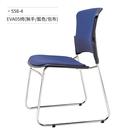 訪客椅/會議/辦公椅(藍/包布/固定式/無扶手)558-4