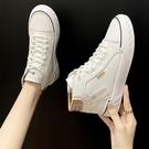 高幫小白鞋女2020年秋冬新款板鞋白色百搭韓版皮面運動休閒帆布鞋 【端午節特惠】