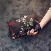 原創設計韓版手包新款蝴蝶圖案手拿包潮流尚男女手拿包信封包潮