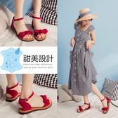 Ann'S水洗牛皮-甜美扭結寬版平底涼鞋-紅