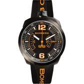 BOMBERG 炸彈錶 BOLT-68 GMT兩地時間日期手錶-黑x橘/45mm BS45GMTPBA.026.3